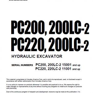 Komatsu PC200-2, PC200LC-2, PC220-2, PC200LC-2 Excavator Manual