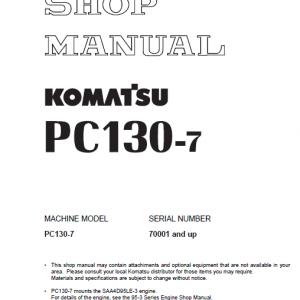 Komatsu PC130-7 Excavator Service Manual