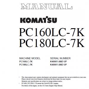 Komatsu PC160LC-7K, PC180LC-7K Excavator Service Manual