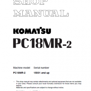 Komatsu PC18MR-2 Excavator Service Manual