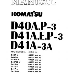 Komatsu D40A-3, D40P-3, D40PL-3, D40PLL-3 Dozer Service Manual