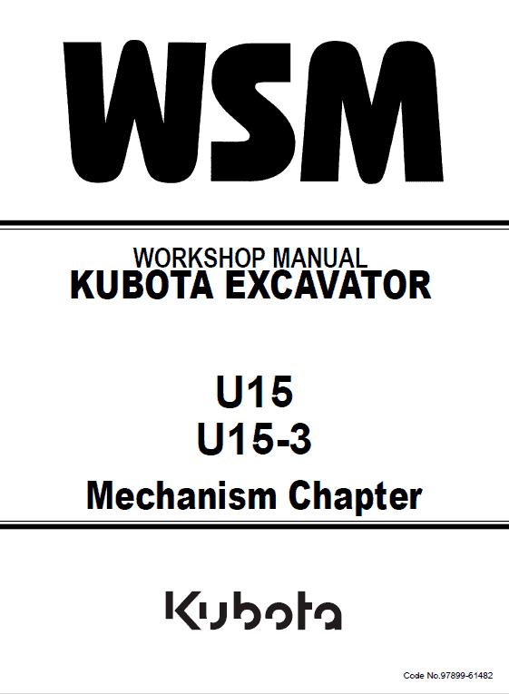 Kubota U15, U15-3 Excavator Workshop Manual
