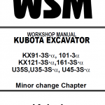 Kubota U35S, US35-3S, US45-3S Excavator Workshop Manual