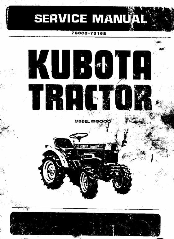 Kubota B6000 Tractor Workshop Service Manual