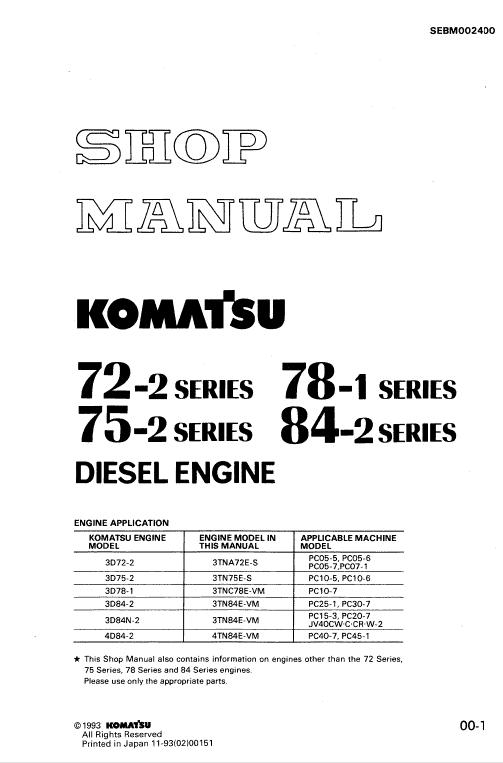 Komatsu 72-2, 75-2, 78-1, 84-2 Series Engine Manual