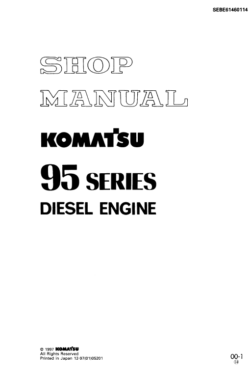 Komatsu 95 Series Engine Manual