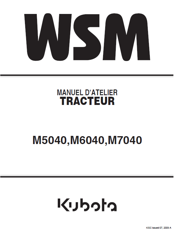 Kubota M5040, M6040, M7040 Tractor Workshop Manual
