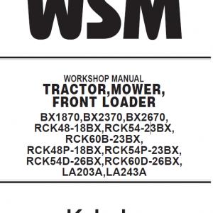 Kubota BX1870, BX2370, BX2670 Tractor Loader Workshop Manual