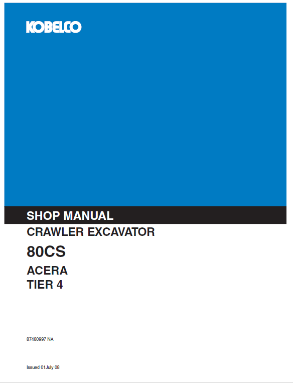 Kobelco 80CS ACERA Tier 4 Excavator Service Manual