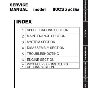 Kobelco 80CS-2 ACERA Excavator Service Manual
